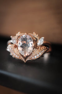 Morganite and diamonds engagement ring / Adonis - Eden Garden Jewelry
