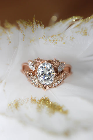 Oval moissanite and diamonds engagement ring / Adonis - Eden Garden Jewelry
