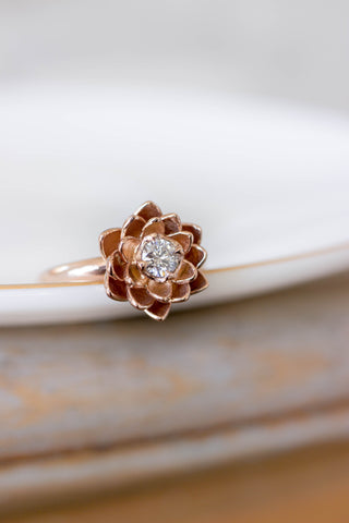 Moissanite lotus ring, lab created diamond ring - Eden Garden Jewelry