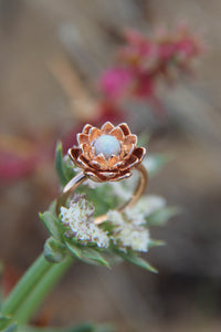 Lotus flower ring with white opal - Eden Garden Jewelry