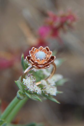 Lotus flower ring with white opal