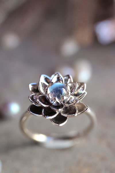 White gold lotus ring with moonstone, flower engagement ring - Eden Garden Jewelry