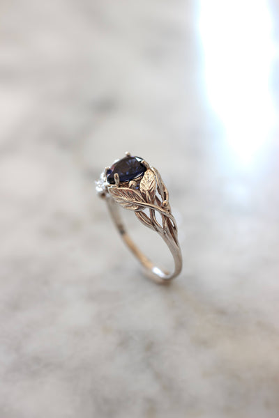 Lab sapphire engagement ring, leaves ring / Viola - Eden Garden Jewelry™