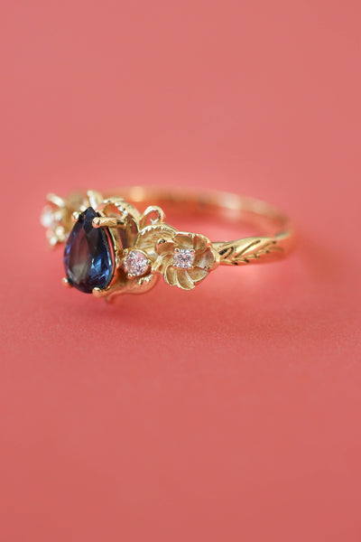 Sapphire and diamonds ring, flower engagement ring / Adelina - Eden Garden Jewelry