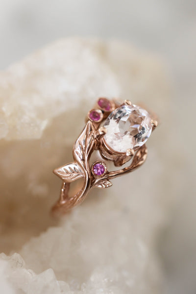 Branch engagement ring with morganite, pink sapphires and diamond - Eden Garden Jewelry