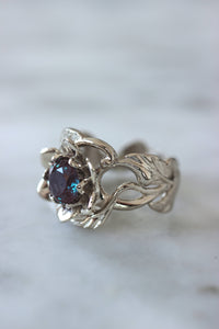 Flower and alexandrite engagement ring, 1 ct gemstone / Rosalia - Eden Garden Jewelry