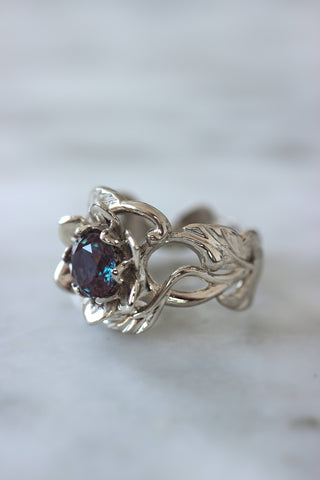Flower and alexandrite engagement ring, 1 ct gemstone / Rosalia