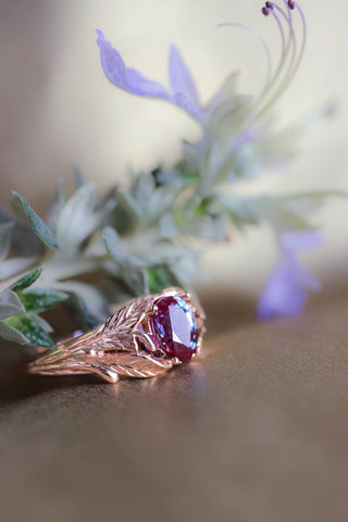 Alexandrite engagement ring, rose gold / Wisteria - Eden Garden Jewelry