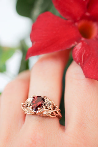 Red garnet engagement ring, leaves ring with pear cut gemstone