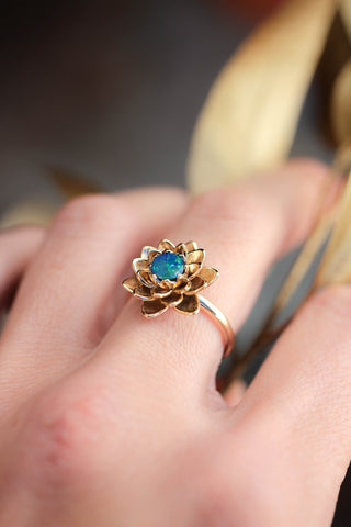 Gold lotus ring with fire opal