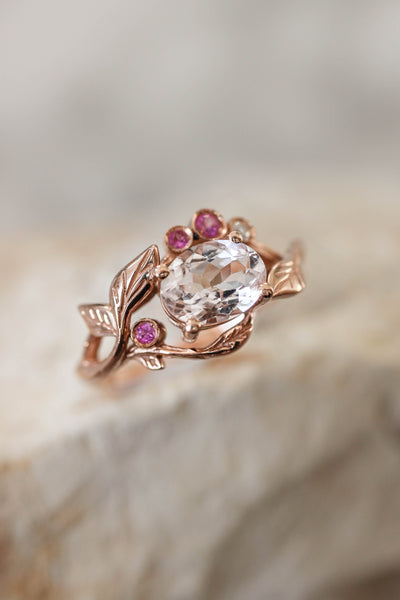 Branch engagement ring with morganite, pink sapphires and diamond - Eden Garden Jewelry™