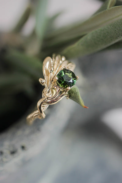 Olive branch ring with ribbon and green tourmaline - Eden Garden Jewelry