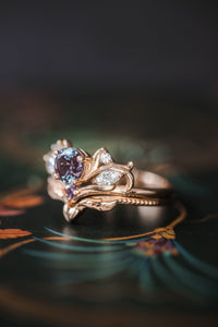 Bridal ring set with alexandrite / Swanlake - Eden Garden Jewelry