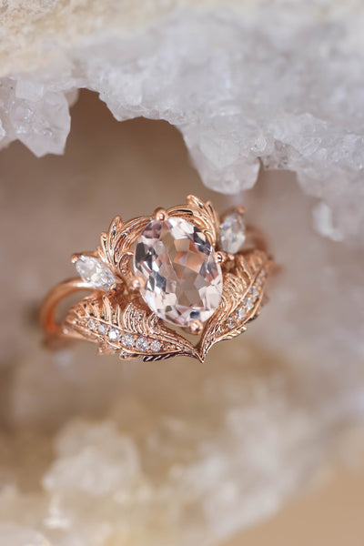 Morganite and diamonds engagement ring / Adonis - Eden Garden Jewelry™