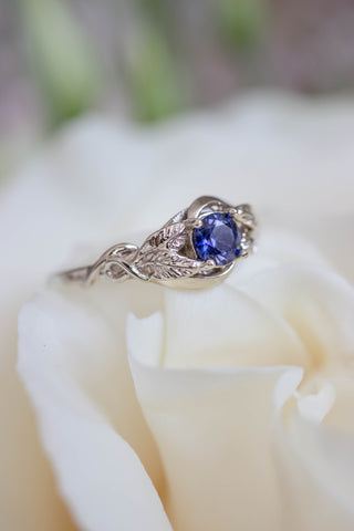Lab created sapphire engagement ring / Azalea - Eden Garden Jewelry™