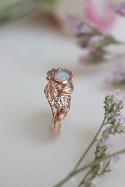 Opal and diamonds engagement ring, rose gold band / Artemisa