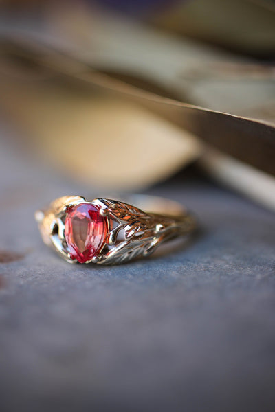 Padparadscha lab sapphire ring, leaves engagement ring / Wisteria