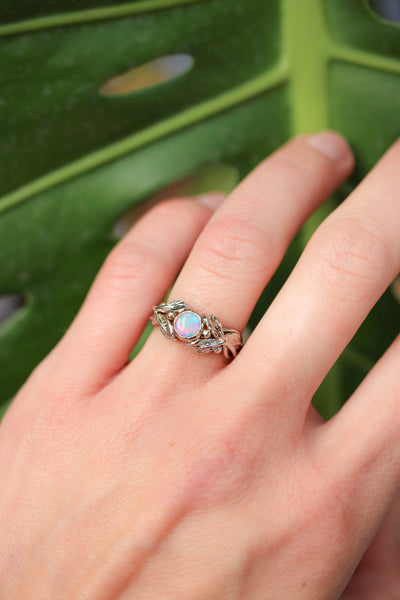 Opal and leaves engagement ring, gold wedding band / Tilia - Eden Garden Jewelry
