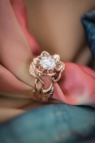 1 ct moissanite flower engagement ring / Rosalia - Eden Garden Jewelry