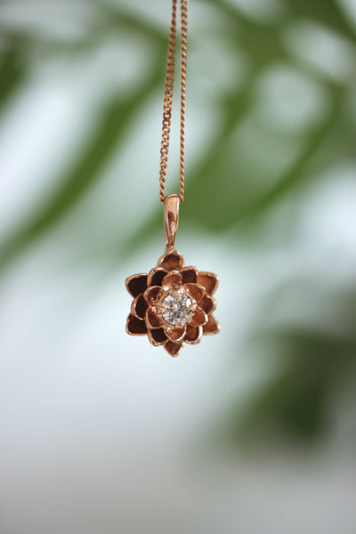 Lotus flower pendant with moissanite - Eden Garden Jewelry