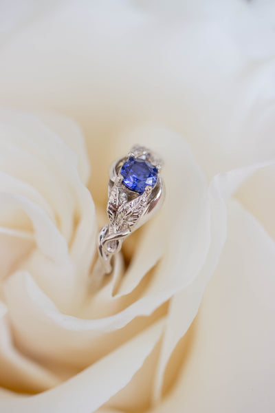 Lab created sapphire engagement ring / Azalea - Eden Garden Jewelry