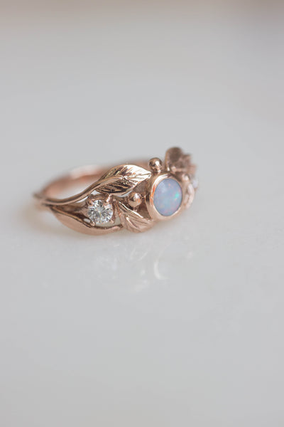 Opal and diamonds engagement ring, rose gold band / Artemisa - Eden Garden Jewelry