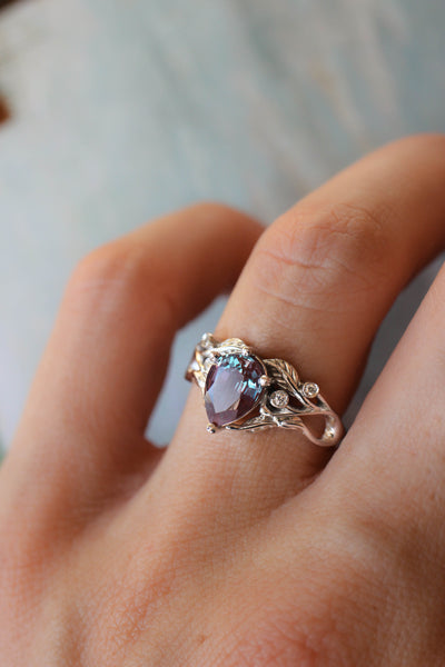 Custom order final payment: Callisto ring with pear cut alexandrite - Eden Garden Jewelry
