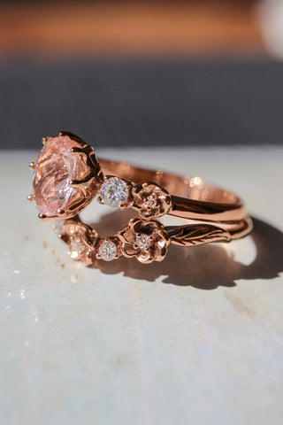Bridal set with morganite and diamonds - Eden Garden Jewelry