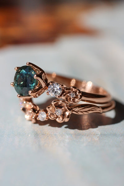 Bridal set with 1 ct teal sapphire and diamonds - Eden Garden Jewelry™