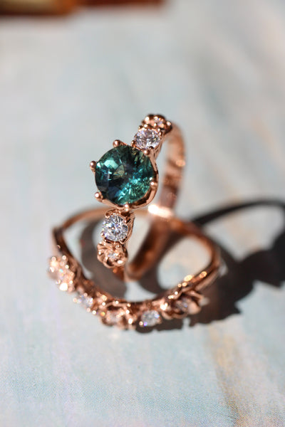 Teal sapphire engagement ring with diamonds and small flowers - Eden Garden Jewelry