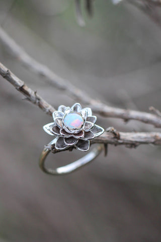 White gold lotus ring with opal, flower engagement ring