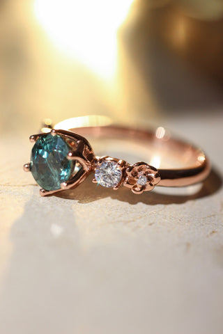 Teal sapphire engagement ring with diamonds and small flowers - Eden Garden Jewelry™