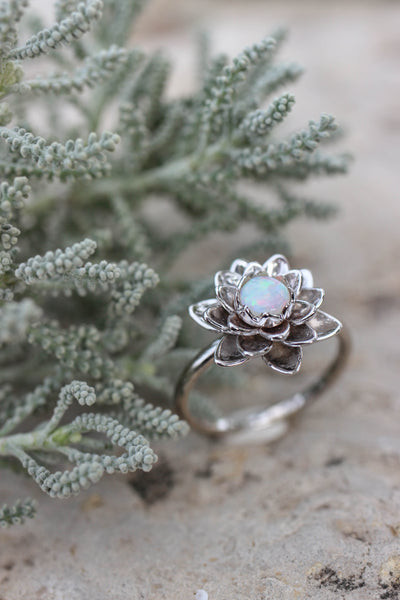 White gold lotus ring with opal, flower engagement ring - Eden Garden Jewelry