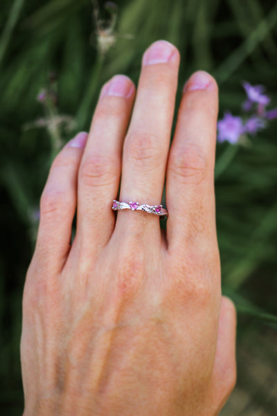 Three pink tourmalines wedding band - Eden Garden Jewelry