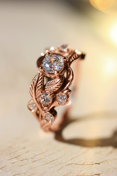 Lead engagement ring with diamonds - Eden Garden Jewelry