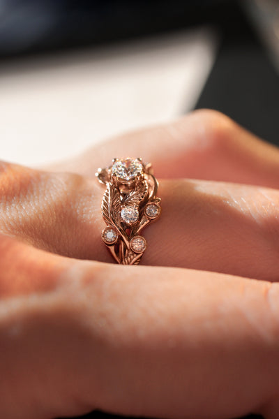Leaf engagement ring with diamonds - Eden Garden Jewelry™