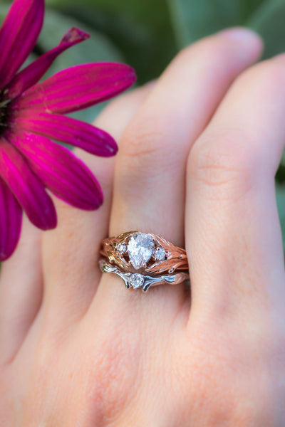 Diamond and leaves wedding band, matching ring for Wisteria - Eden Garden Jewelry