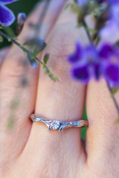 Custom order: matching wedding band with sapphire / Wisteria - Eden Garden Jewelry