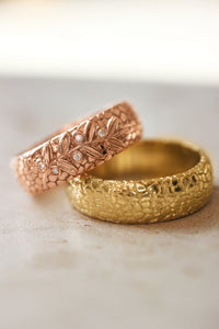Wedding bands set for couple, textured rings with olive branch - Eden Garden Jewelry™