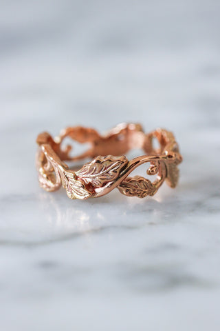 Oak leaves wedding band, ring for her, option 2