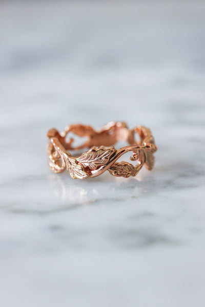 Oak leaves wedding band, ring for her, option 1 - Eden Garden Jewelry™