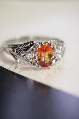 Orange sapphire engagement ring with diamonds, leaf engagement ring / Wisteria - Eden Garden Jewelry