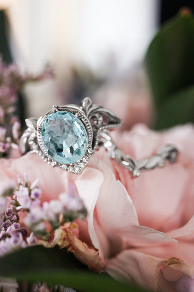Art nouveau bridal ring set with aquamarine / Lida oval - Eden Garden Jewelry™