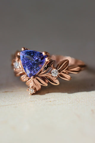 Trillion cut tanzanite engagement ring, leaf ring - Eden Garden Jewelry