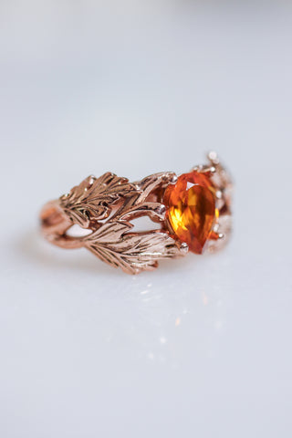 Leaf engagement ring with golden citrine
