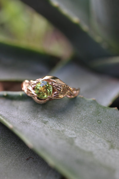 Peridot leaves engagement ring / Azalea - Eden Garden Jewelry™