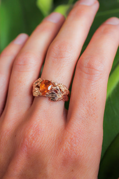 Leaf engagement ring with golden citrine - Eden Garden Jewelry