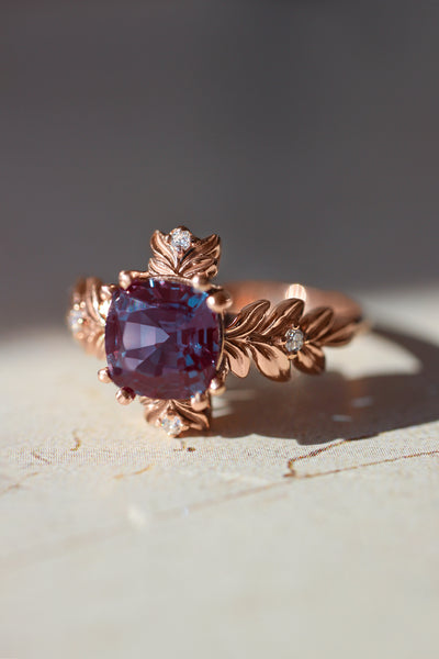 Cushion alexandrite ring with diamonds, leaf engagement ring - Eden Garden Jewelry