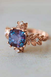 Cushion alexandrite ring with diamonds, leaf engagement ring - Eden Garden Jewelry™