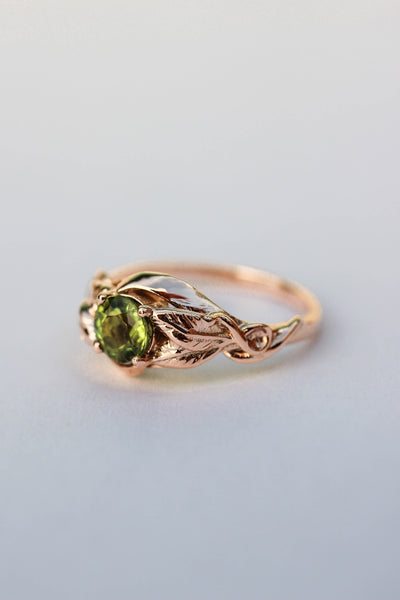 Peridot leaves engagement ring / Azalea - Eden Garden Jewelry